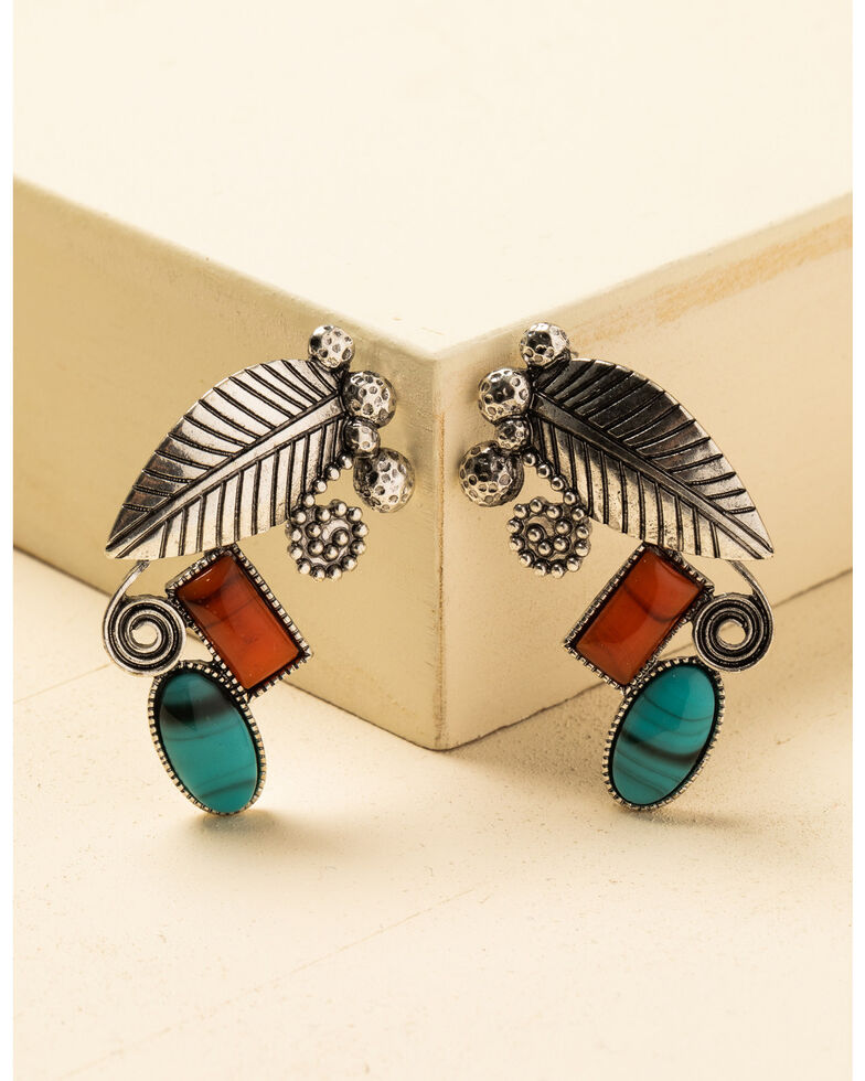 Shyanne Women's In The Oasis Stone Feather Earrings , Silver, hi-res