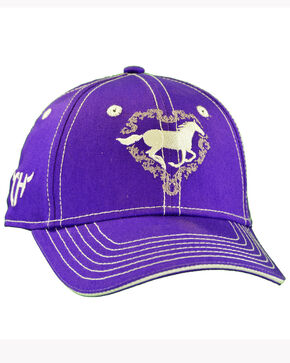 Cowgirl Hardware Infant & Toddler Girl's Purple Heart Horse Cap, Purple, hi-res