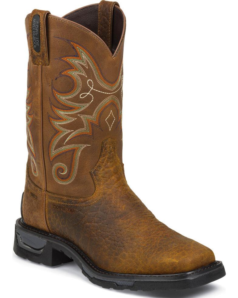 Tony Lama Men's TLX WP Comp Toe Western Work Boots, Brown, hi-res
