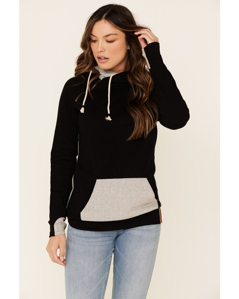 Ampersand Avenue Women's Black Herringbone Contrast Hooded Sweatshirt , Black, hi-res