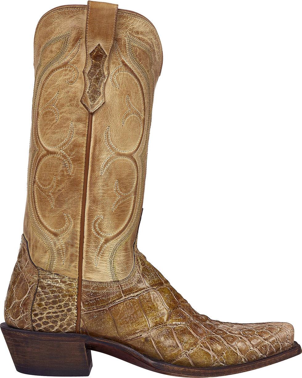 Lucchese Handmade Tan Van Giant Gator Cowboy Boots - Square Toe  , Tan, hi-res