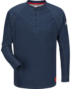 Bulwark Men's Dark Blue iQ Series Flame Resistant Henley Shirt , Dark Blue, hi-res