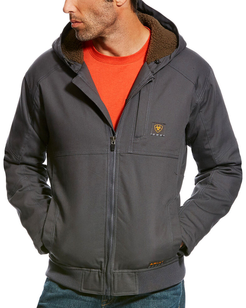 Ariat Men's Grey Rebar DuraCanvas Hooded Work Jacket, Grey, hi-res