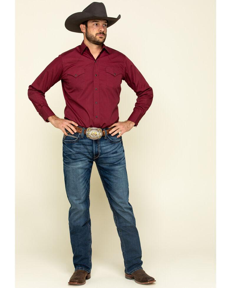 Ely Cattleman Men's Multi Circle Geo Print Long Sleeve Western Shirt , Burgundy, hi-res