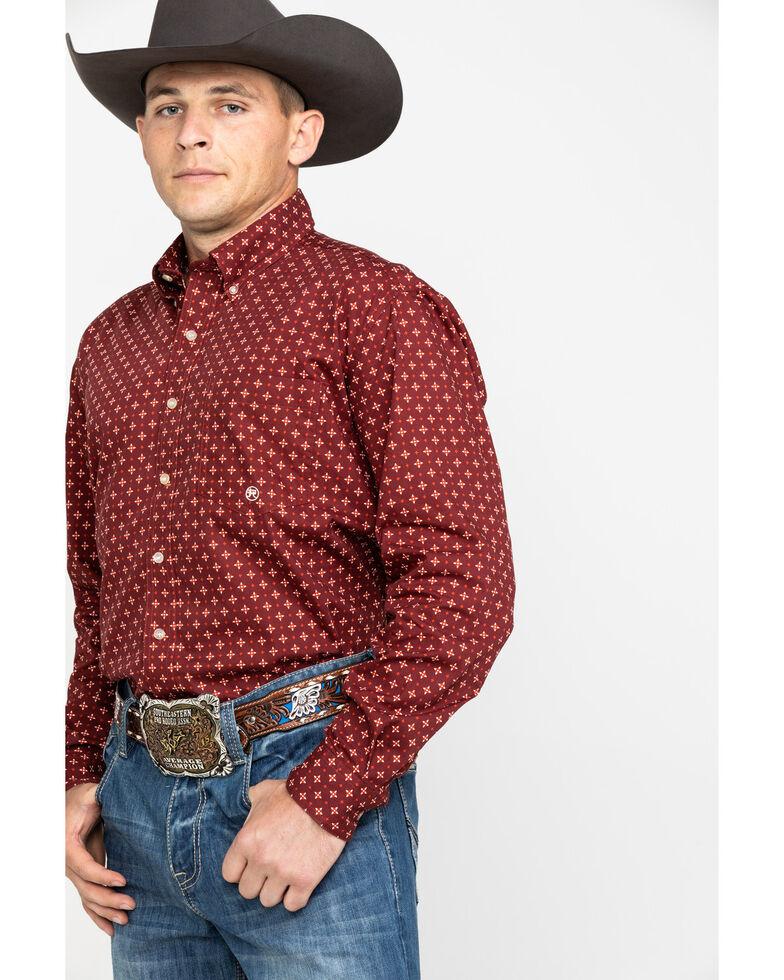 Roper Men's Amarillo Voyager Foulard Geo Print Long Sleeve Western Shirt , Red, hi-res
