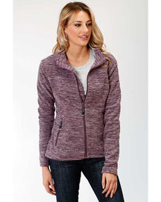 Roper Women's Purple Micro Fleece Jacket , Purple, hi-res