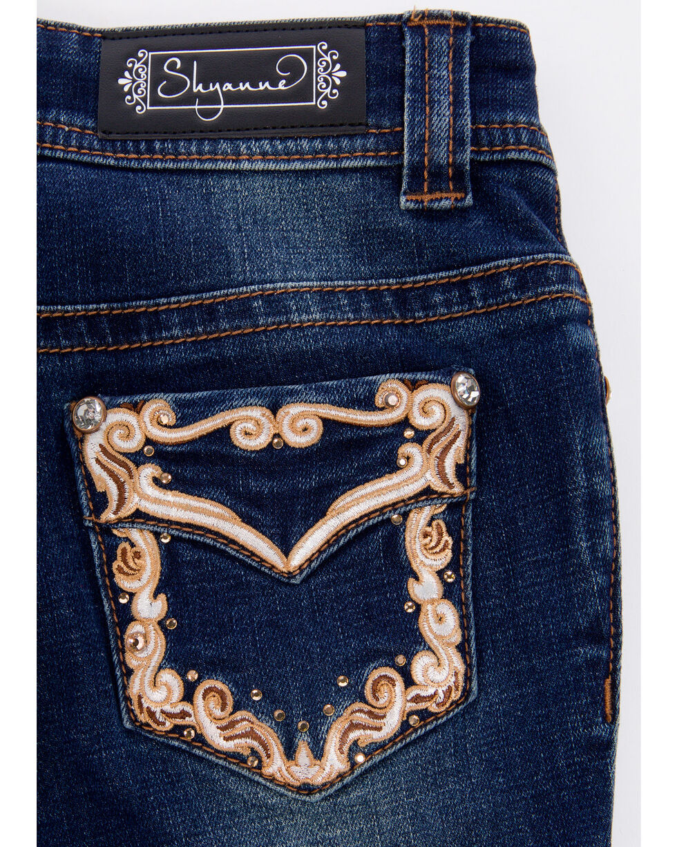 Shyanne Girls' Core Scroll Embroidered Boot Jeans , Blue, hi-res