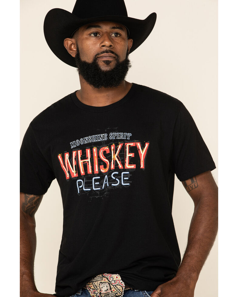 Moonshine Spirit Men's Whiskey Neon Graphic Short Sleeve T-Shirt , Black, hi-res