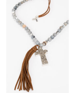 Shyanne Women's Slate Sparkle Druzy Cross Tassel Necklace, Slate, hi-res
