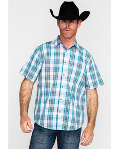 Gibson Men's El Torito Med Plaid Short Sleeve Western Shirt , Turquoise, hi-res