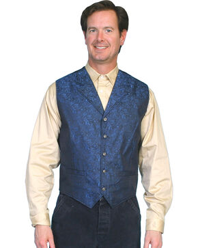 Rangewear by Scully Paisley Vest - Big & Tall, Blue, hi-res