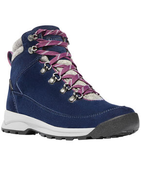 Danner Women's Navy Adrika Hiker Wool Waterproof Boots - Round Toe  , Navy, hi-res