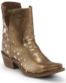 Nocona Women's Vina Gold Fashion Booties - Snip Toe, Gold, hi-res