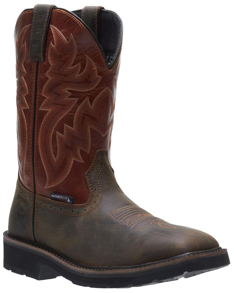 Wolverine Men's Rancher Waterproof Western Work Boots - Steel Toe, Brown, hi-res