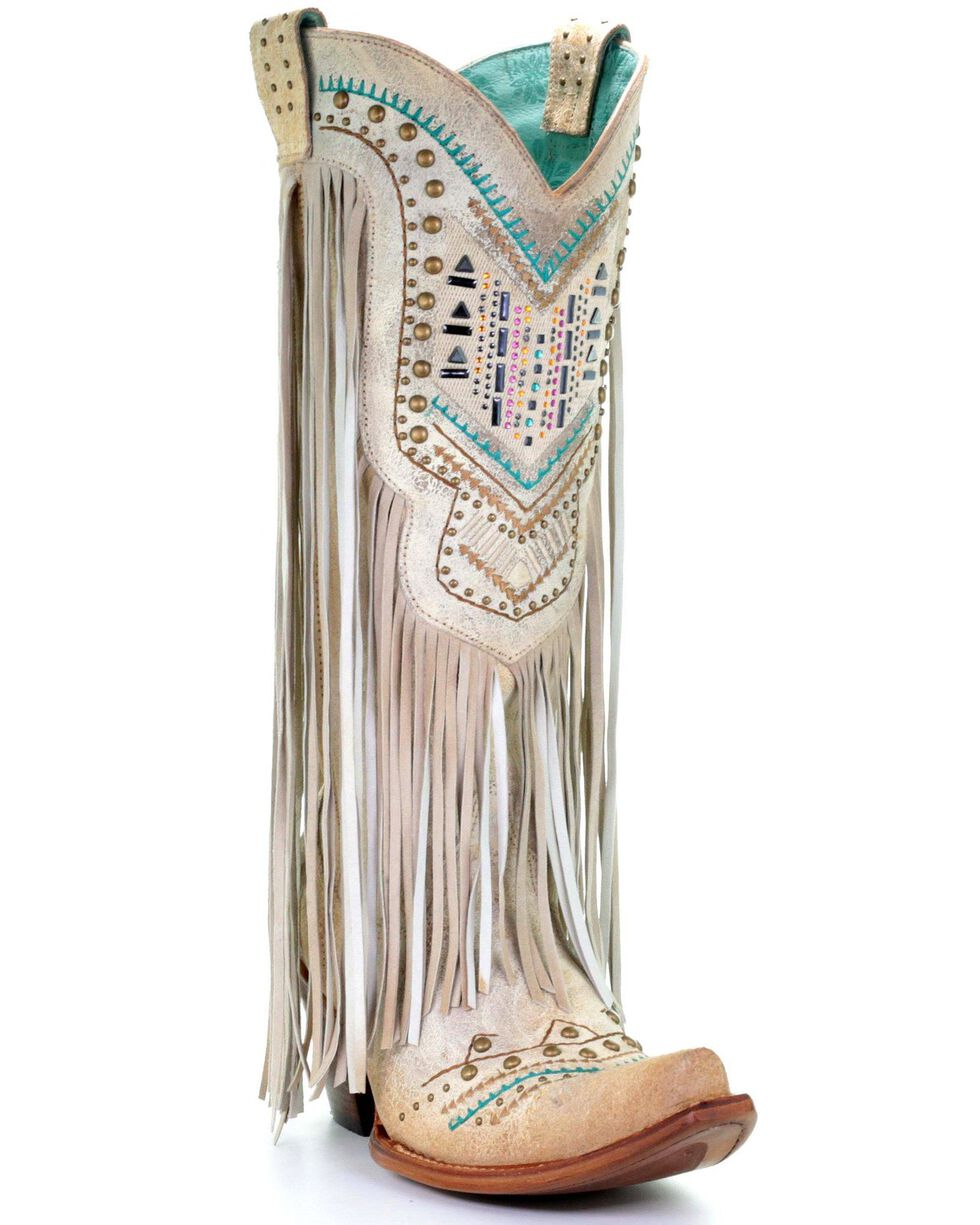 Corral Women's Bone Swarovski Pattern Fringe Wedding Boots - Snip Toe, Ivory, hi-res