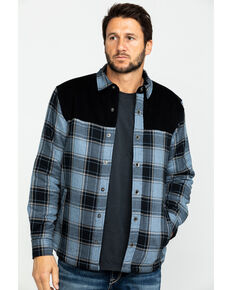 Moonshine Spirit Men's Goleta Plaid Mixed Flannel Nylon Shirt Jacket , Blue, hi-res