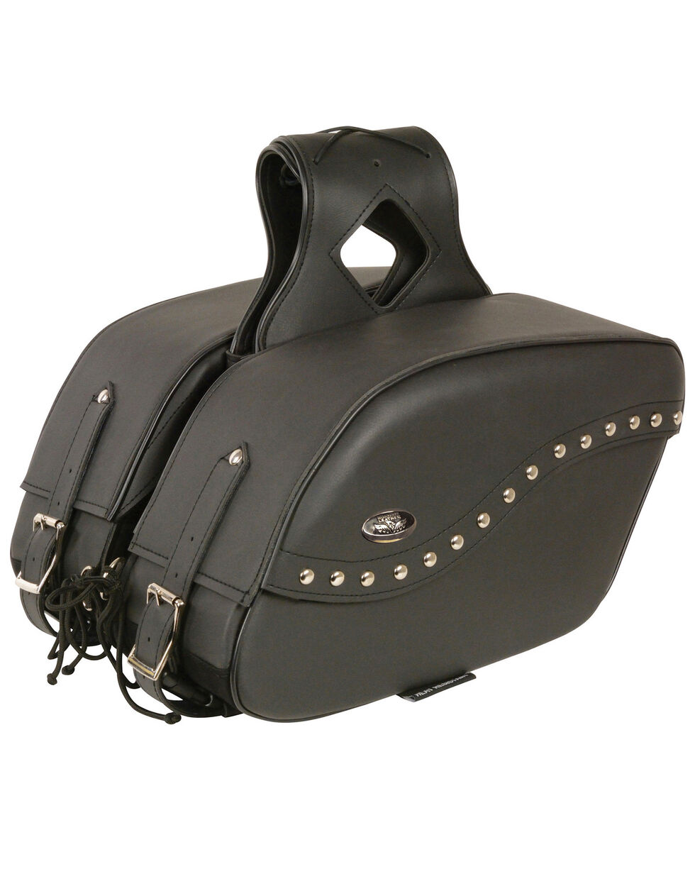 Milwaukee Leather Zip-Off PVC Studded Throw Over Saddle Bag, Black, hi-res