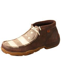 Twisted X Men's Patriotic Driving Moccasin Shoes - Moc Toe, Brown, hi-res