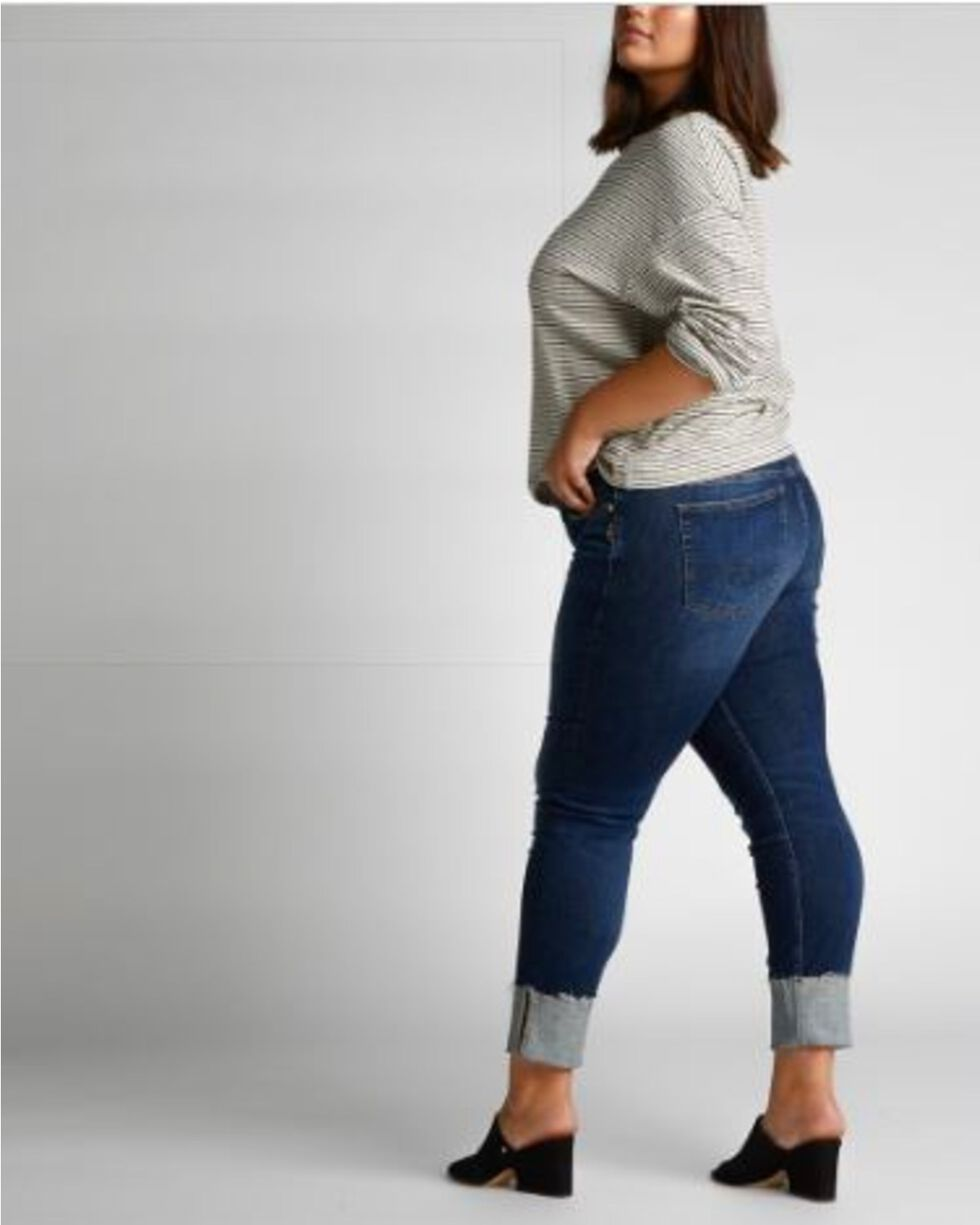 Silver Women's Elyse Mid-Rise Curvy Relaxed Slim Jeans , Indigo, hi-res