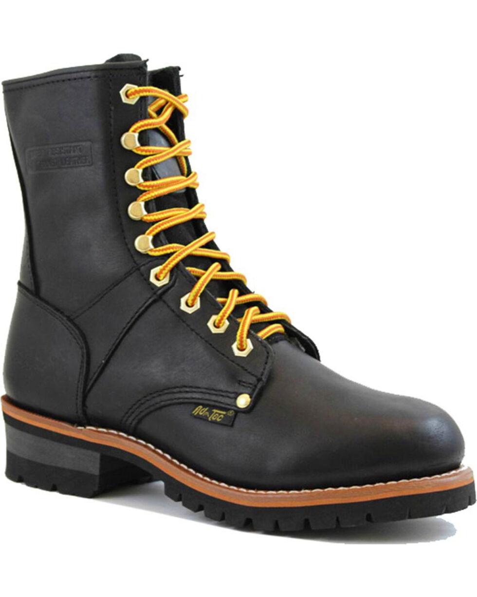 """Ad Tec Men's Logger 9"""" Work Boots, Black, hi-res"""