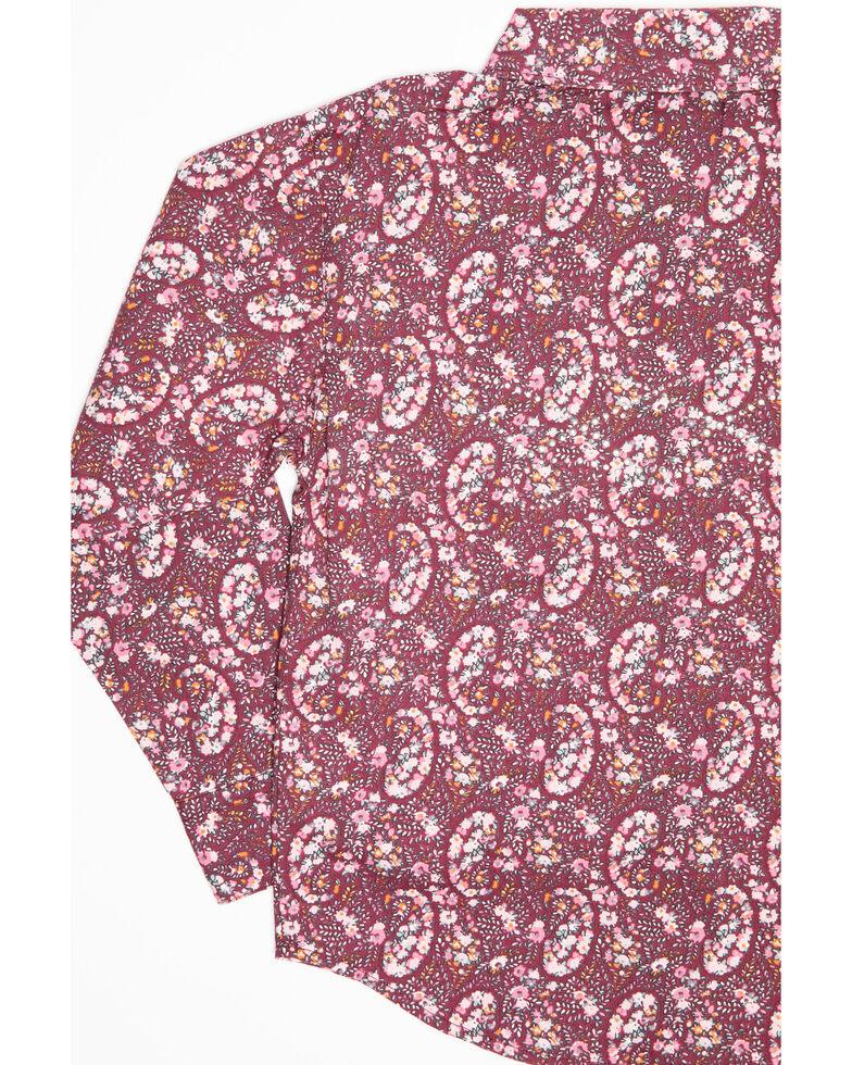 Shyanne Toddler Girls' Rhinestone Dark Pink Paisley Print Long Sleeve Western Shirt, Pink, hi-res