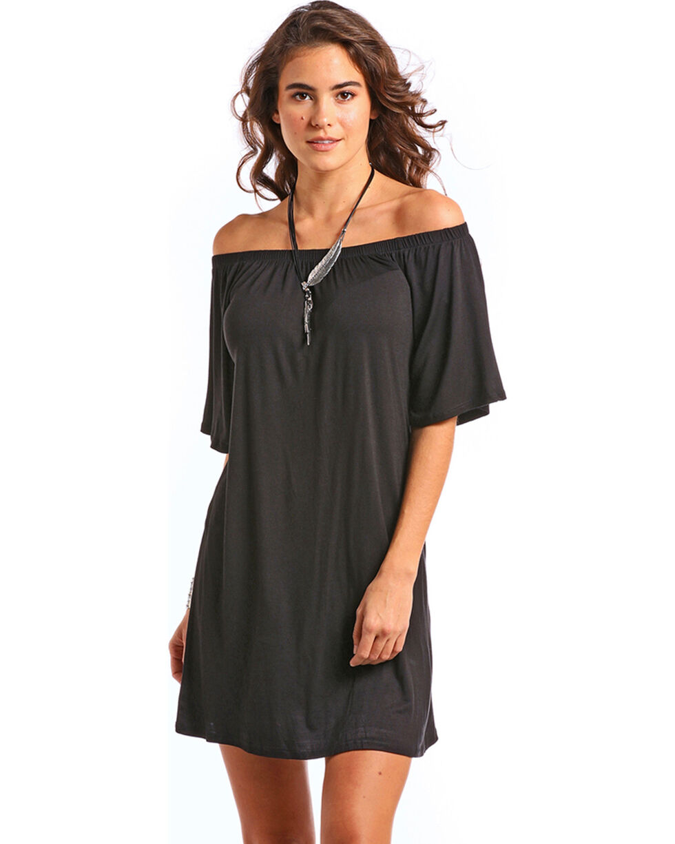Panhandle Women's Black Off the Shoulder Knit Swing Dress, Black, hi-res