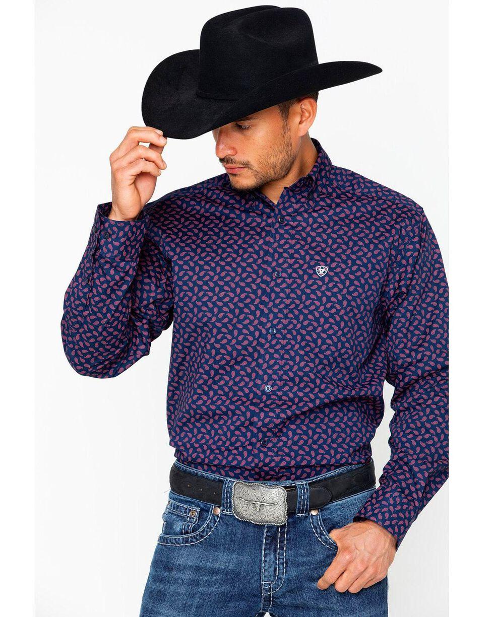 Ariat Men's Stretch Print Long Sleeve Shirt, Dark Blue, hi-res