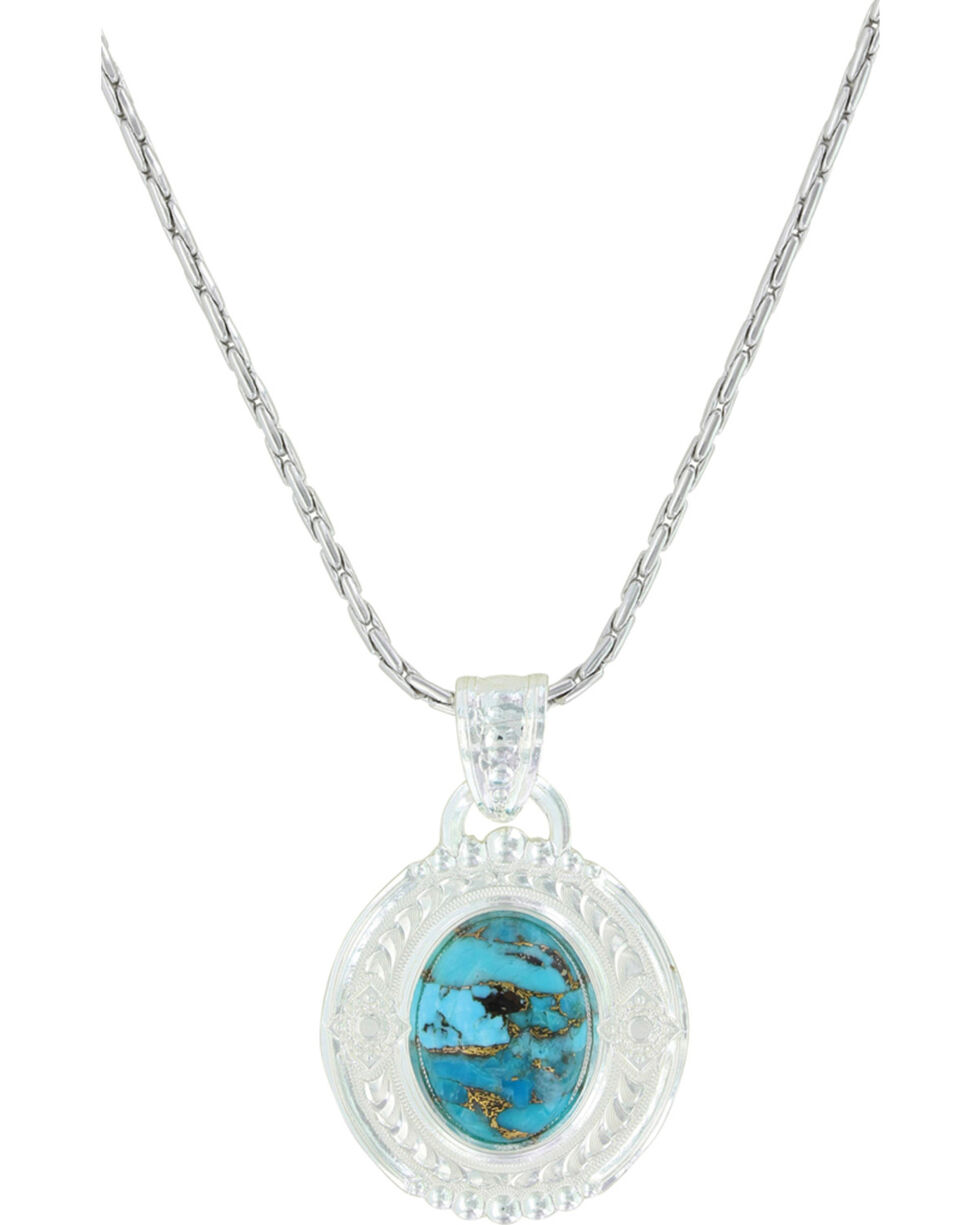 Montana Silversmiths Women's Glacier Pools Of Turquoise Necklace , Silver, hi-res