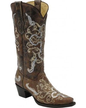 Corral Women's Embroidered Cross Western Boots, Tobacco, hi-res