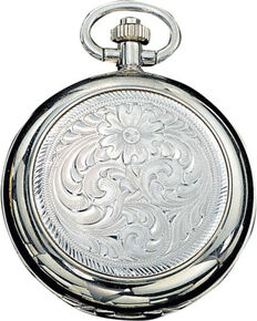 Montana Silversmiths Engraved Western Pocket Watch, No Color, hi-res