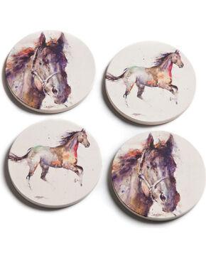 Big Sky Carvers Dean Crouser Horse Coasters, Cream, hi-res