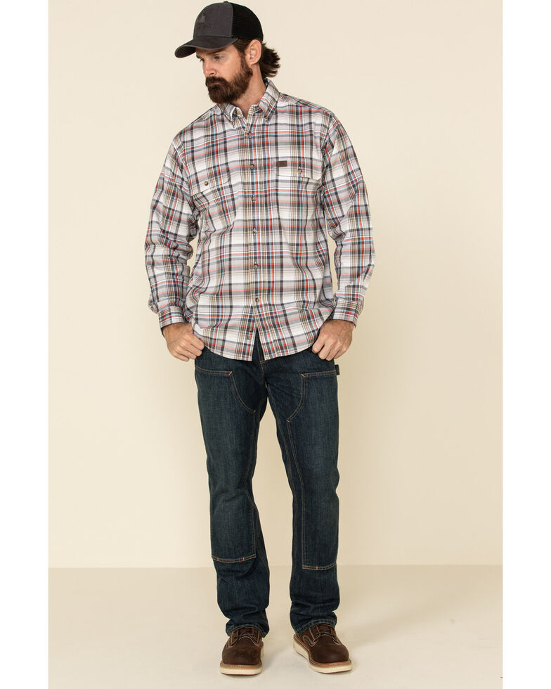 Wrangler Riggs Men's White Plaid Foreman Long Sleeve Work Shirt - Big , White, hi-res