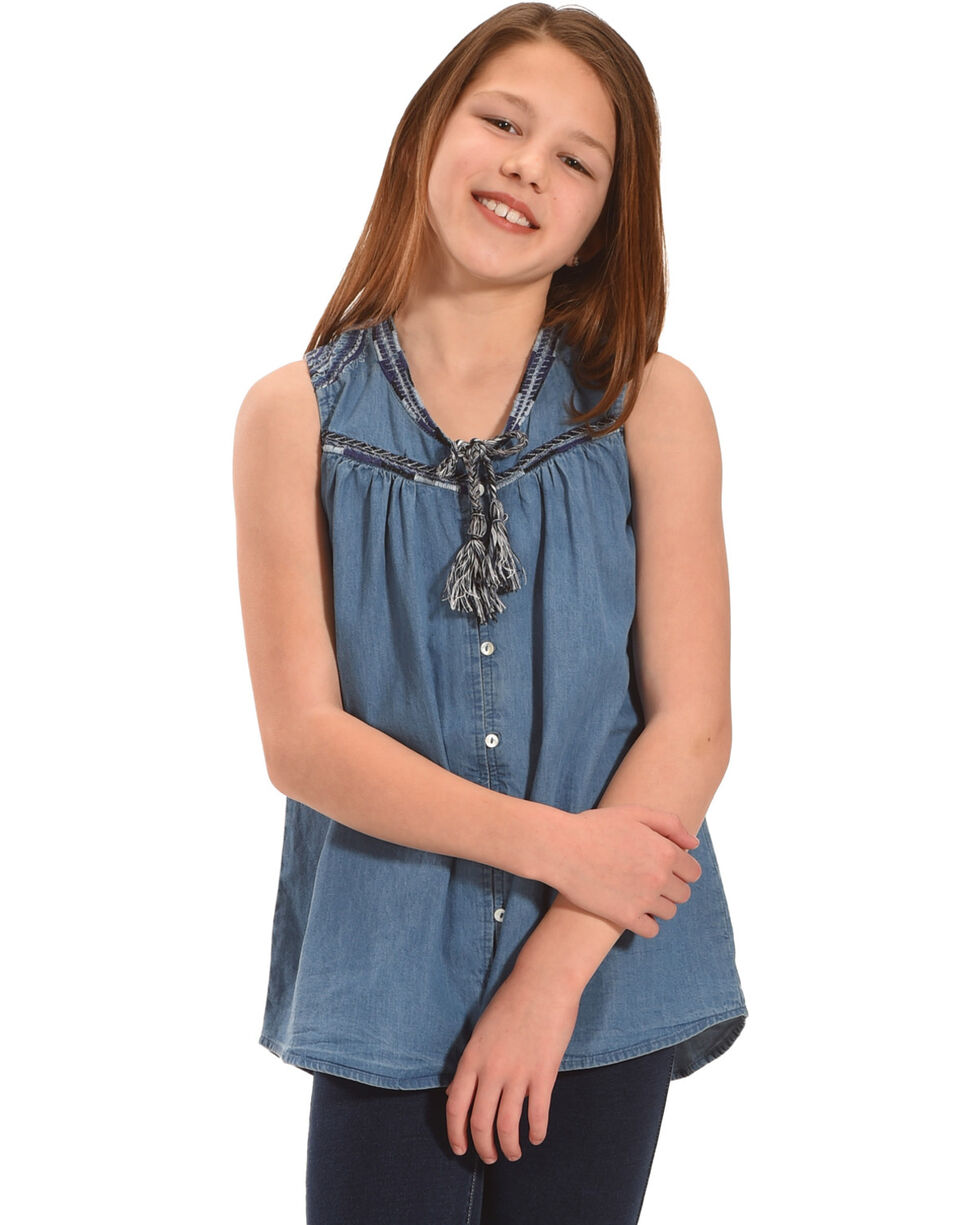 Silver Girls' Sleeveless Denim Top, Indigo, hi-res