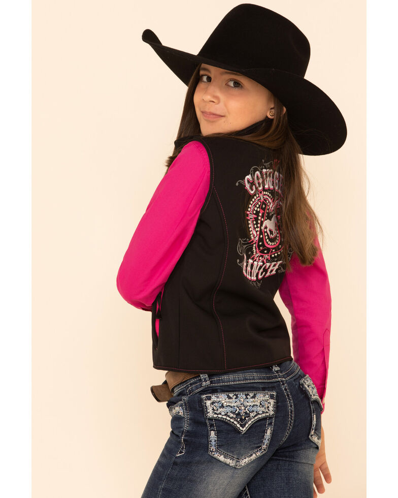 Cowgirl Hardware Girls' Black Cowgirl Ranch Softshell Vest, Black, hi-res