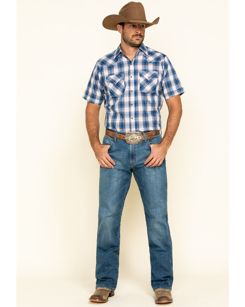 Ely Cattleman Men's Blue Textured Plaid Short Sleeve Western Shirt , Blue, hi-res