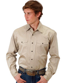 Roper Men's Khaki Solid Poplin Long Sleeve Western Shirt, Khaki, hi-res