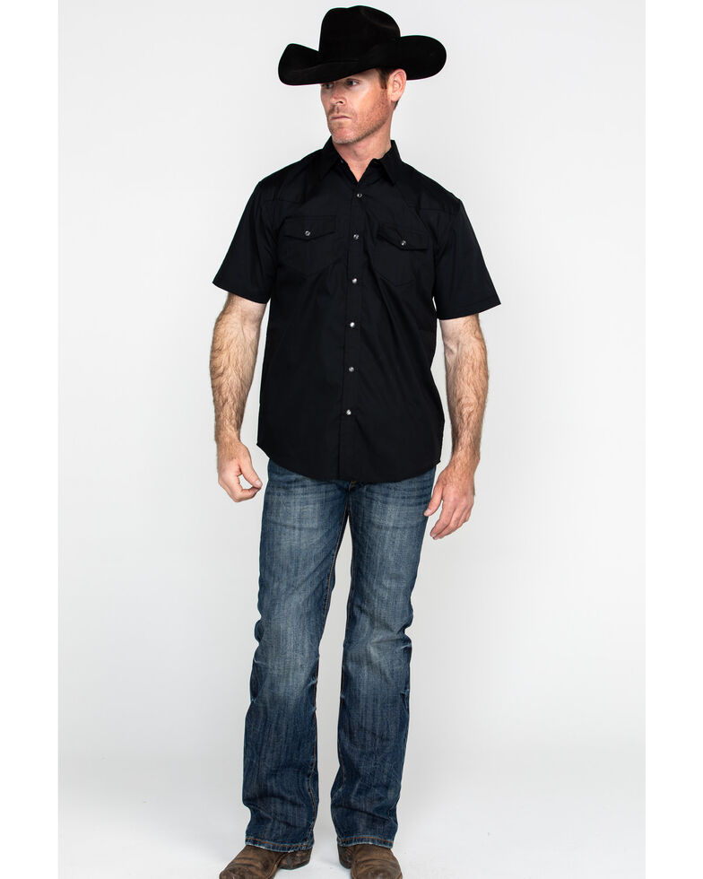 Gibson Men's Black Solid Short Sleeve Western Shirt - Tall, Black, hi-res