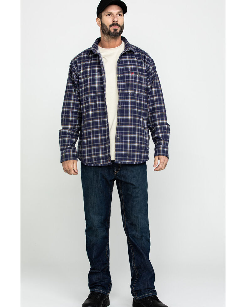 Ariat Men's FR Monument Plaid Work Shirt Jacket - Big , Navy, hi-res