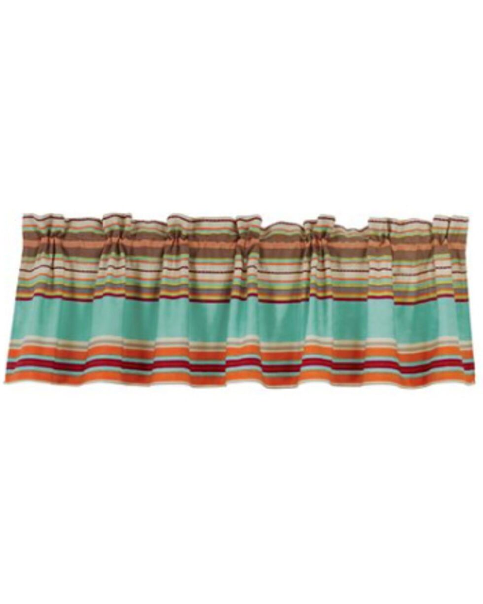 HiEnd Accents Turquoise Serape Patterned Valance , Turquoise, hi-res
