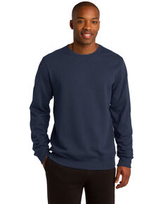 Sport Tek Men's Navy Solid Crew Work Sweatshirt , Navy, hi-res