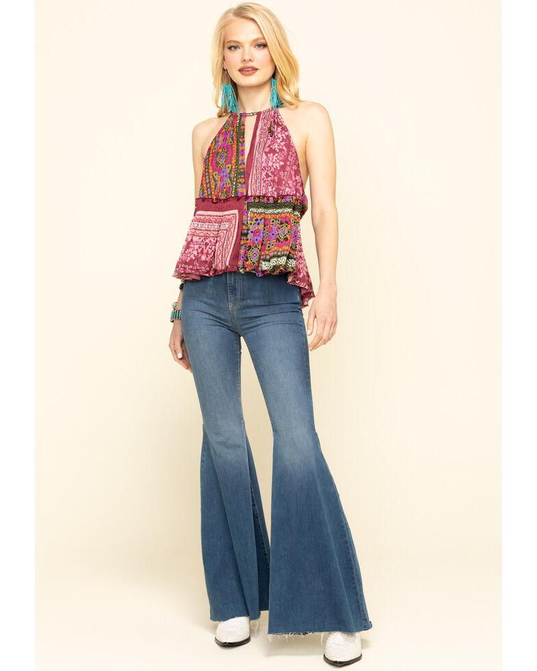 Free People Women's Bellini Patchwork Halter Top, Purple, hi-res