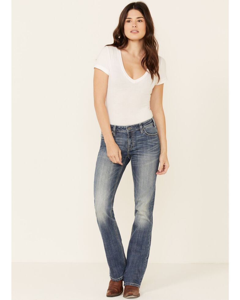 Rock & Roll Denim Women's Medium Wash Mid-Rise Bootcut Jeans, Blue, hi-res