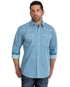 Wrangler 20X Men's Diamond Geo Print Advanced Comfort Long Sleeve Western Shirt , Blue, hi-res