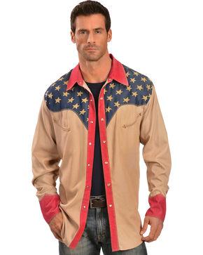 Scully Men's Long Sleeve Patriotic Western Shirt, Tan, hi-res