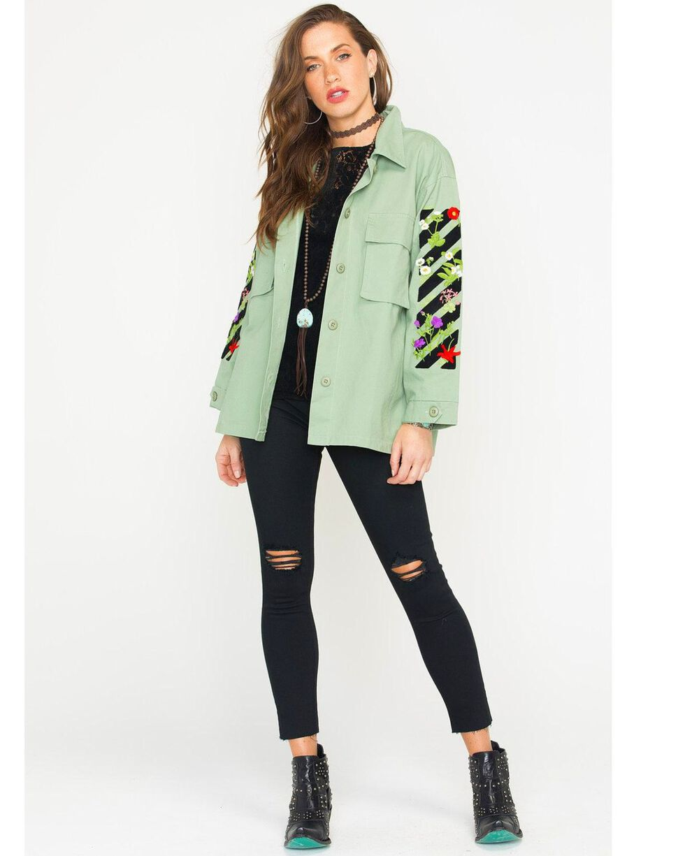Polagram Women's Embroidered Army Jacket, Olive, hi-res