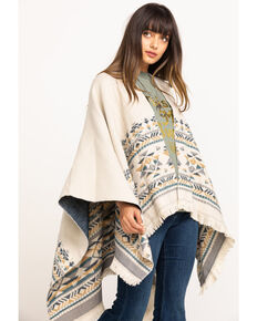 Shyanne Women's Biscay Bay Combo Aztec Woven Poncho Shawl , Multi, hi-res