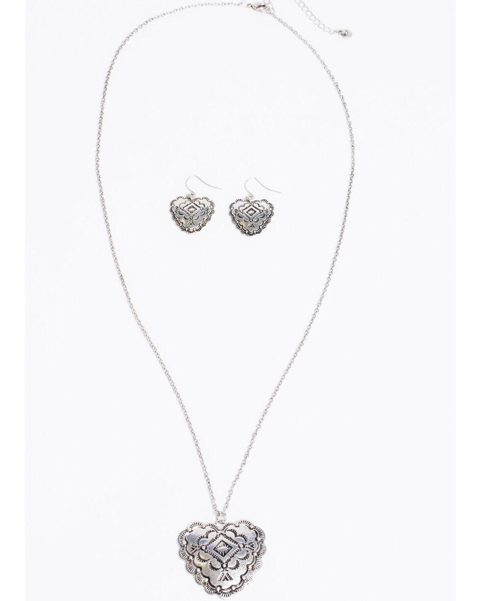 Shyanne Women's Bella Heart Aztec Concho Necklace Set, Silver, hi-res