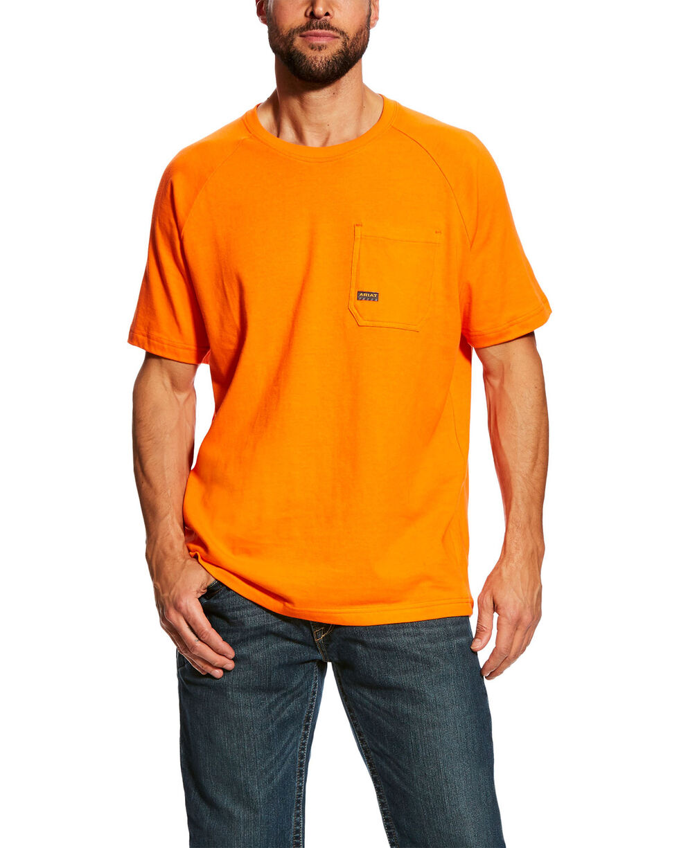 Ariat Men's Safety Orange Rebar Cotton Strong Short Sleeve Crew Work Shirt -Tall , Orange, hi-res