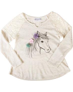 Shyanne® Girls' Dream Pony Long Sleeve Shirt, Ivory, hi-res