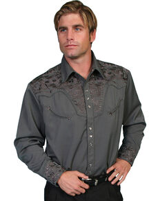 Scully Men's Charcoal Embroidered Gunfighter Shirt - Big, Charcoal, hi-res